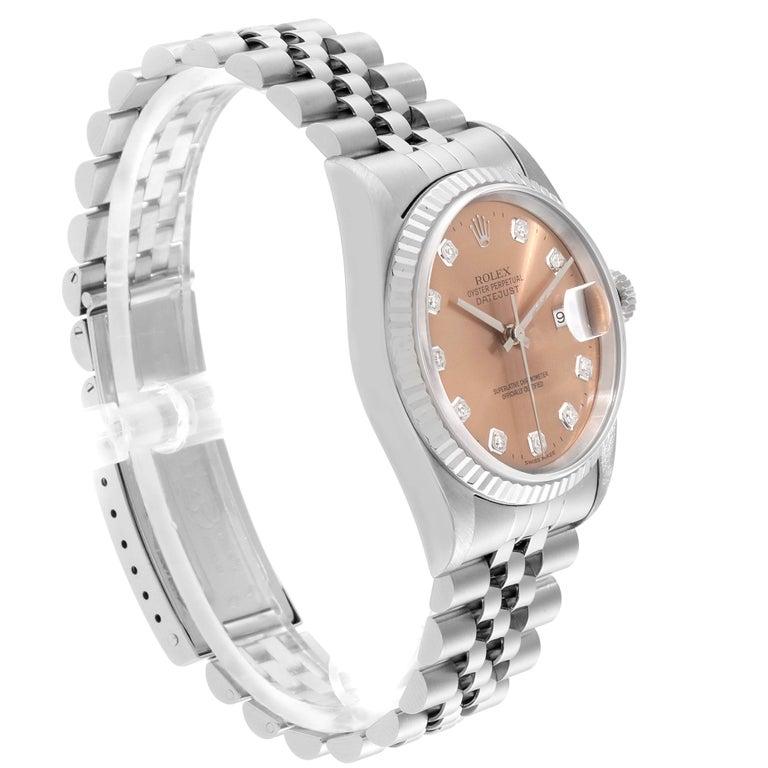 Rolex Datejust Steel White Gold Salmon Diamond Dial Men's Watch 16234 In Good Condition In Atlanta, GA