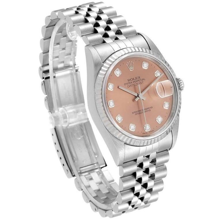 Rolex Datejust Steel White Gold Salmon Diamond Dial Men's Watch 16234 In Excellent Condition For Sale In Atlanta, GA