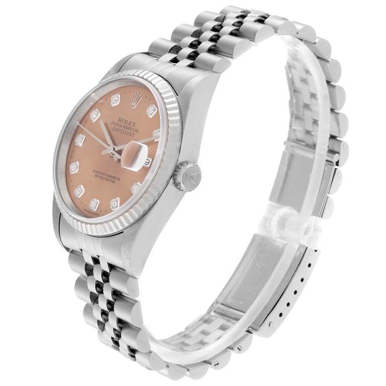 Rolex Datejust Steel White Gold Salmon Diamond Dial Men's Watch 16234 1