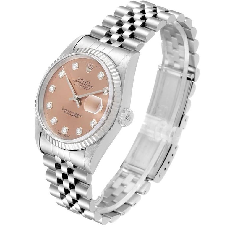 Rolex Datejust Steel White Gold Salmon Diamond Dial Men's Watch 16234 For Sale 1