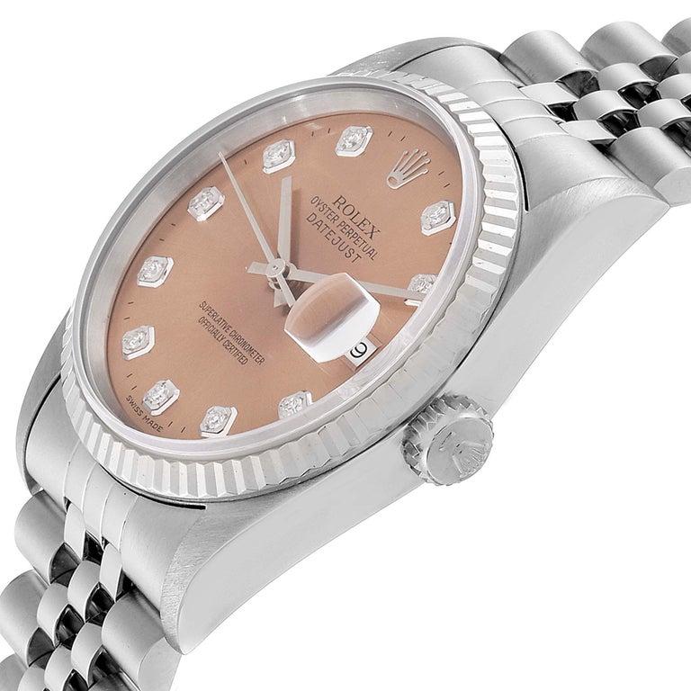 Rolex Datejust Steel White Gold Salmon Diamond Dial Men's Watch 16234 2
