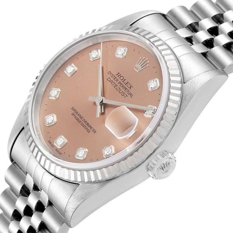 Rolex Datejust Steel White Gold Salmon Diamond Dial Men's Watch 16234 For Sale 2