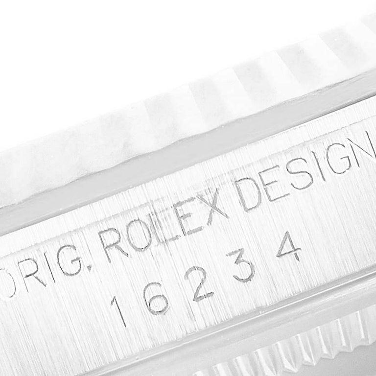 Rolex Datejust Steel White Gold Salmon Diamond Dial Men's Watch 16234 For Sale 4