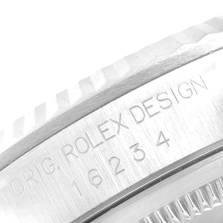 Rolex Datejust Steel White Gold Salmon Diamond Dial Men's Watch 16234 5