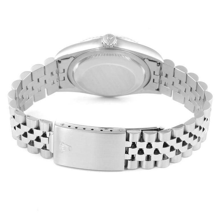 Rolex Datejust Steel White Gold Salmon Diamond Dial Men's Watch 16234 For Sale 6