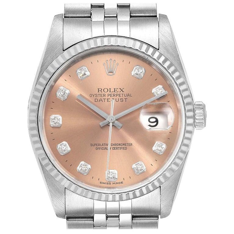 Rolex Datejust Steel White Gold Salmon Diamond Dial Men's Watch 16234