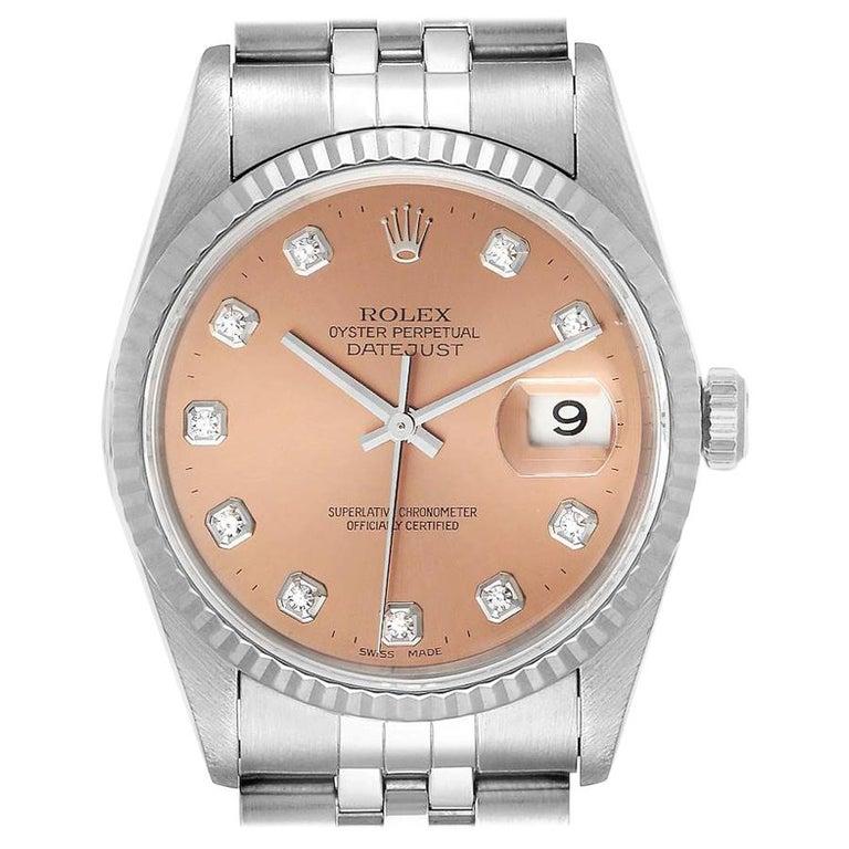 Rolex Datejust Steel White Gold Salmon Diamond Dial Men's Watch 16234 For Sale