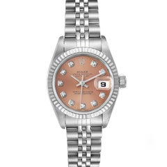 Rolex Datejust Steel White Gold Salmon Diamond Dial Watch 79174 Box Papers