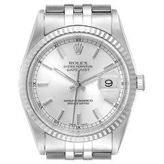 Rolex Datejust Steel White Gold Silver Baton Dial Men's Watch 16234