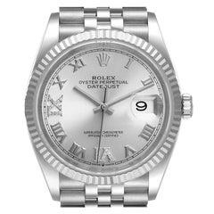 Rolex Datejust Steel White Gold Silver Dial Diamond Watch 126234 Box Card