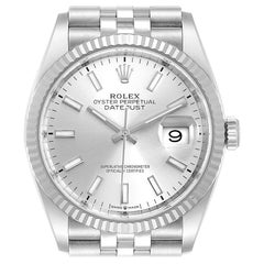 Rolex Datejust Steel White Gold Silver Dial Men's Watch 126234 Box Card