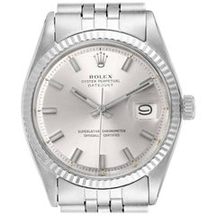 Rolex Datejust Steel White Gold Silver Dial Vintage Men's Watch 1601