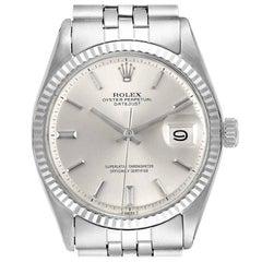 Rolex Datejust Steel White Gold Silver Dial Vintage Men's Watch 1601