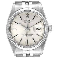 Rolex Datejust Steel White Gold Silver Dial Vintage Men's Watch 16014