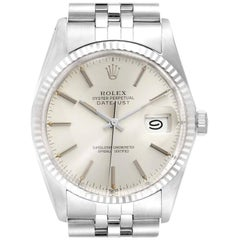 Rolex Datejust Steel White Gold Silver Dial Vintage Men's Watch 16014