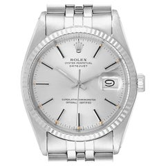Rolex Datejust Steel White Gold Silver Dial Vintage Watch 16014 Box Papers