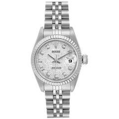 Rolex Datejust Steel White Gold Silver Diamond Dial Ladies Watch 69174