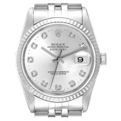 Rolex Datejust Steel White Gold Silver Diamond Dial Men's Watch 16234