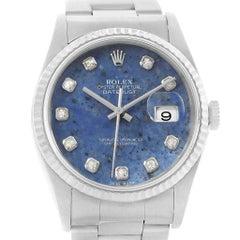 Rolex Datejust Steel White Gold Sodalite Diamond Dial Men's Watch 16234