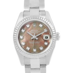 Rolex Datejust Steel White Gold Tahitian MOP Diamond Ladies Watch 179174