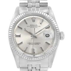 Rolex Datejust Steel White Gold Vintage Men's Watch 1601 Year 1971