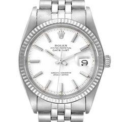 Rolex Datejust Steel White Gold White Dial Vintage Mens Watch 1601
