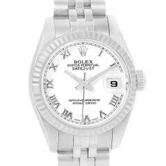 Rolex Datejust Steel White Gold White Roman Dial Ladies Watch 179174