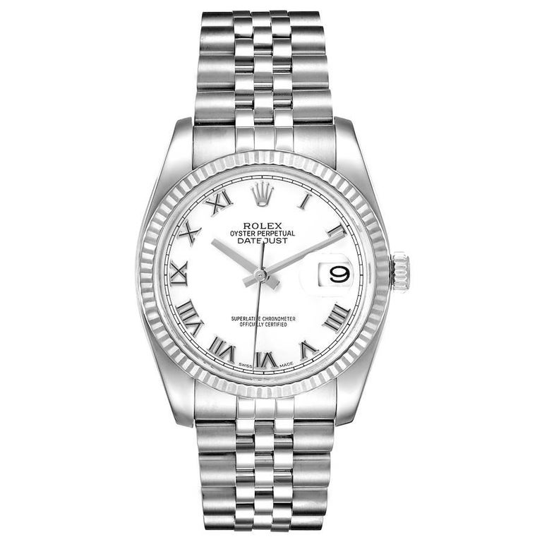Rolex Datejust Steel White Gold White Roman Dial Mens Watch 116234. Officially certified chronometer self-winding movement. Stainless steel case 36.0 mm in diameter. Rolex logo on a crown. 18K white gold fluted bezel. Scratch resistant sapphire