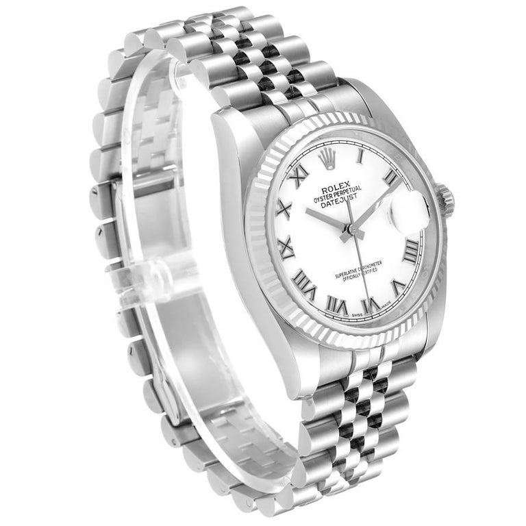 Rolex Datejust Steel White Gold White Roman Dial Mens Watch 116234 In Excellent Condition For Sale In Atlanta, GA
