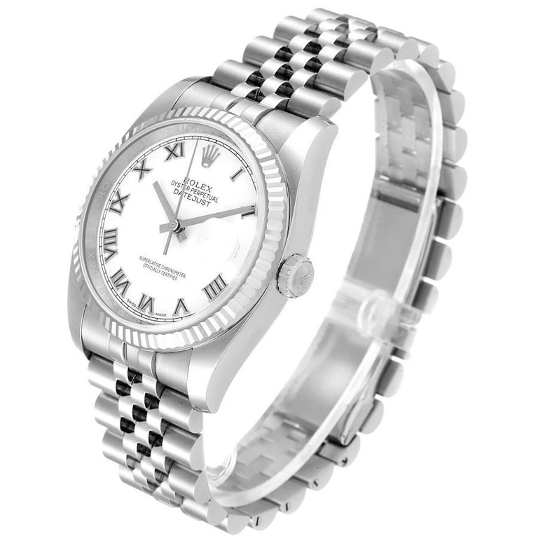 Men's Rolex Datejust Steel White Gold White Roman Dial Mens Watch 116234 For Sale