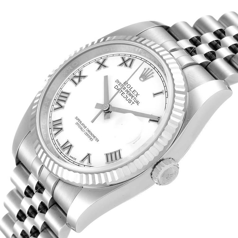 Rolex Datejust Steel White Gold White Roman Dial Mens Watch 116234 For Sale 1