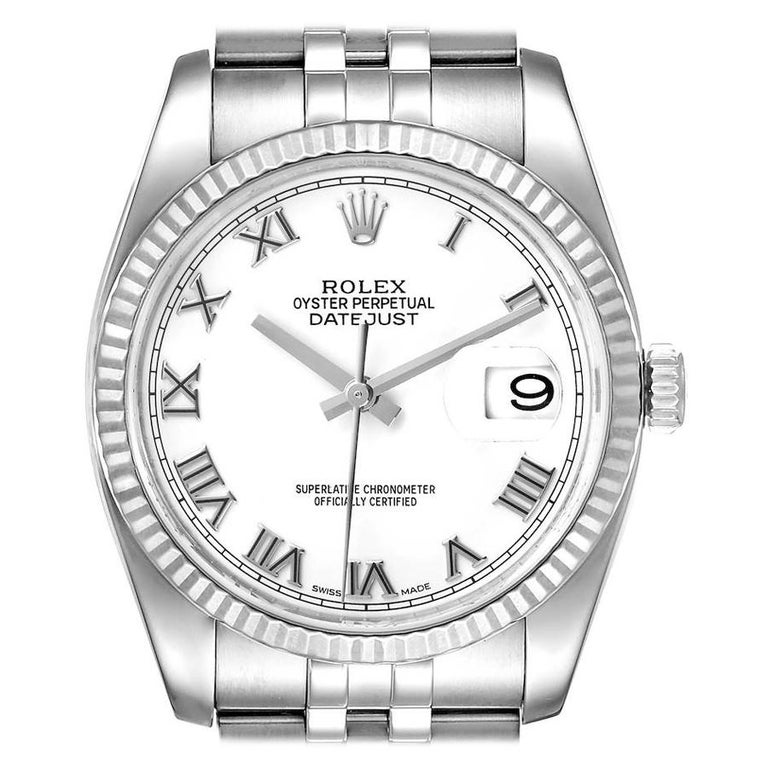 Rolex Datejust Steel White Gold White Roman Dial Mens Watch 116234 For Sale