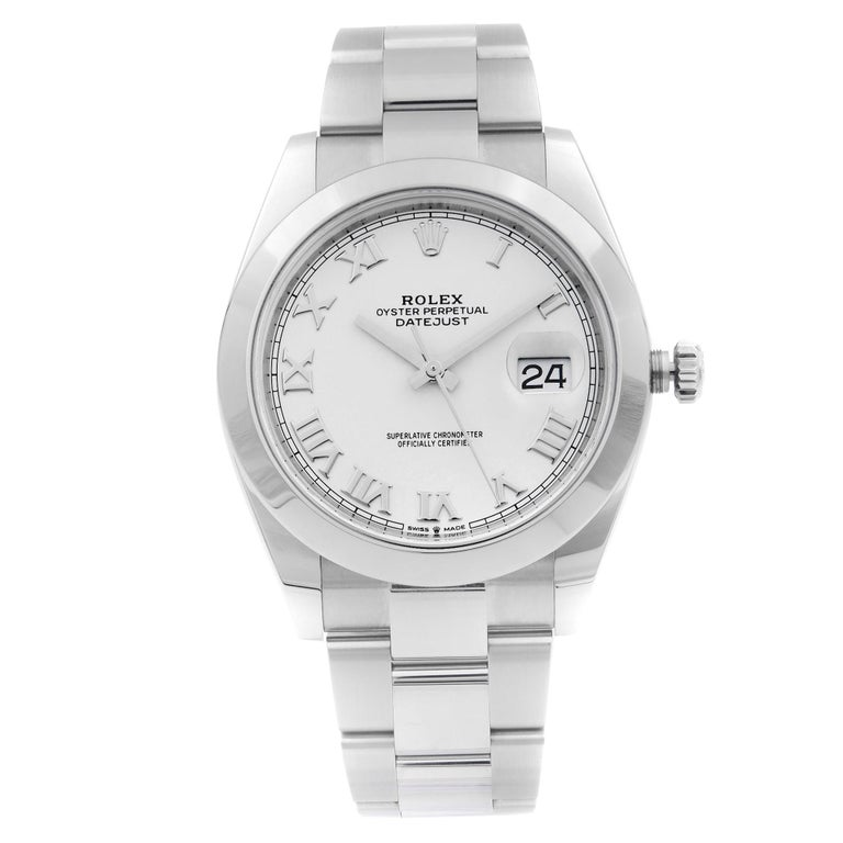 Rolex Datejust Steel White Roman Dial Smooth Automatic Men's Watch 126300 For Sale