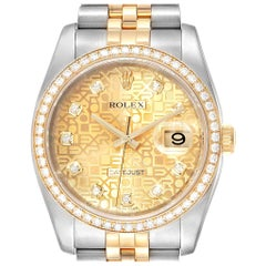 Rolex Datejust Steel Yellow Gold Anniversary Diamond Men's Watch 116243