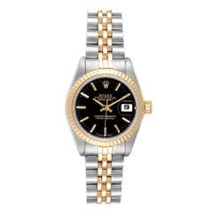 Rolex Datejust Steel Yellow Gold Black Dial Ladies Watch 69173