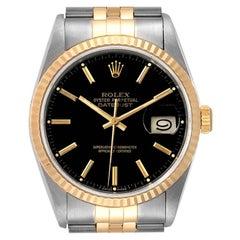 Rolex Datejust Steel Yellow Gold Black Dial Men's Watch 16233 Box
