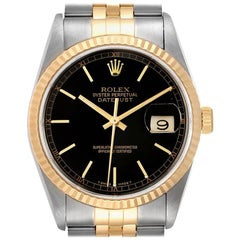 Rolex Datejust Steel Yellow Gold Black Dial Men's Watch 16233 Box Papers