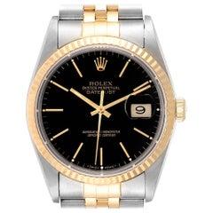 Rolex Datejust Steel Yellow Gold Black Dial Men's Watch 16233