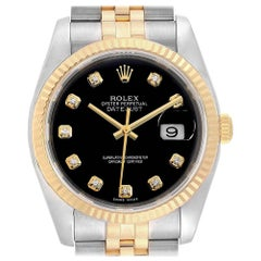 Rolex Datejust Steel Yellow Gold Black Diamond Dial Men's Watch 116233