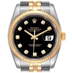 Rolex Datejust Steel Yellow Gold Black Diamond Men's Watch 116233 Box Papers