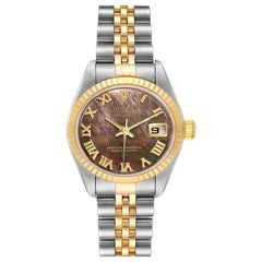 Rolex Datejust Steel Yellow Gold Black MOP Ladies Watch 79173 Box Papers