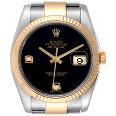 Rolex Datejust Steel Yellow Gold Black Onyx Diamond Men's Watch 116233