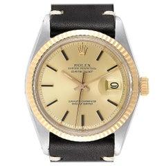 Rolex Datejust Steel Yellow Gold Black Strap Vintage Men's Watch 1601