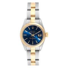 Rolex Datejust Steel Yellow Gold Blue Dial Ladies Watch 69163