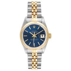 Rolex Datejust Steel Yellow Gold Blue Dial Ladies Watch 79173