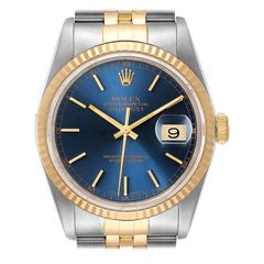 Rolex Datejust Steel Yellow Gold Blue Dial Men's Watch 16233