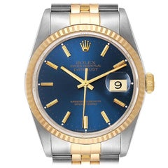 Rolex Datejust Steel Yellow Gold Blue Dial Men's Watch 16233 Papers