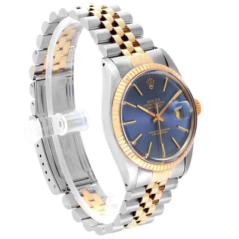 b812fdf6a62 Rolex Datejust Steel Yellow Gold Blue Dial Vintage Men's Watch 16013 For  Sale 1