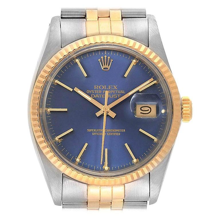ea4c62f3b5d Rolex Datejust Steel Yellow Gold Blue Dial Vintage Men's Watch 16013 For  Sale