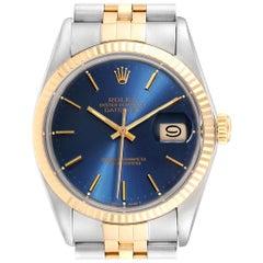 Rolex Datejust Steel Yellow Gold Blue Dial Vintage Men's Watch 16013